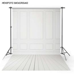 pisos de vinilo impreso Rebajas Fondo de fotografía de vinilo Piso de madera y pared blanca Fondo de computadora Impreso Telones de fondo de boda para foto Studio MR-1313