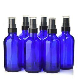 Wholesale Cobalt Perfume - 6 X 120ml Empty Refillable 4 Oz Cobalt Blue Glass Spray Bottle w  fine mist sprayer pump for essential oils aromatherapy perfume