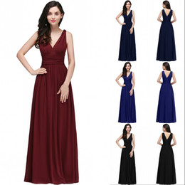 Wholesale maternity bridesmaids - 2018 Cheap A Line Burgundy Chiffon Bridesmaid Dresses Sexy V Neck Black Party Gown Backless Evening Dresses Robe demoiselle d'honneur CPS723