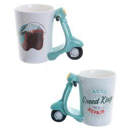 red coffee mug ceramic UK - Ceramic Hand-Painted 3D Cartoon Motorcycle Mug Lovely Creative Coffee Juice Cups Handle Cups Mug Home Office Water Cup Great Gift