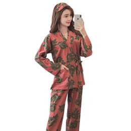 47842b4f8a Cotton kimono Woman pajamas set Leaves Printing Female trousers+Night gown  Autumn Winter Home Wear Clothing Pyjama 2 Pieces Suit