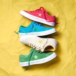 Pele de estrela on-line-Venda quente TTC Uma Estrela x Ox Pinstripe Azul Verde Vermelho Cinza Amarelo Casuais Camurça Da Pele Das Mulheres Dos Homens Sapatos de Grife Sapatilhas de Skate Chaussures Zapatos