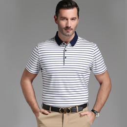 2fff499922a2 silk polo shirts Promo Codes - 2018 Summer New Arrival Fashion Men s Short  Sleeve Striped T
