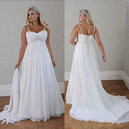 Wholesale Custom Casual Long Dresses - Plus Size Casual Beach Wedding Dresses 2017 Spaghetti Straps Beaded Chiffon Floor Length Empire Waist Elegant Bridal Gowns