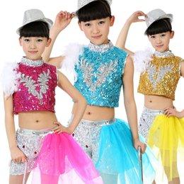 Wholesale Jazz Kids Clothes - Sequin Feather Children Girls Jazz Clothes Hip Hop Dance Wear Kids Stage Performance Ballroom Dancing Costumes