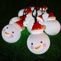 Wholesale Plastic Garden Ornaments - Christmas snowman head solar lights string 2018 new garden party decorative light string romantic warm LED lights wholesale free shipping