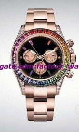 Montre arc-en-ciel en Ligne-40mm 116505 solide or rose cadran noir lunette arc-en-ciel lunette automatique de marque de vente de montres de luxe de vente chaude montre - bracelet pour hommes