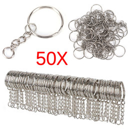 bcee035952 50PCS Polished Silver Color 25mm Keyring Keychain Split Ring With Short Chain  Key Rings Women Men Diy Key Chains Accessories on sale
