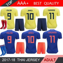 China 2018 World Cup Colombia MEN soccer Jersey Adult Kits Colombia M home  yellow FALCAO JAMES 66ac67c80