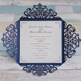Shop elegant wedding greeting cards uk elegant wedding greeting dark blue elegant wedding invites laser cut invitation cards for wedding graduation birthday party greeting cards stopboris Choice Image