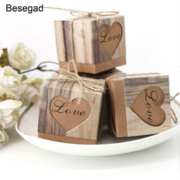 Cordel de papel online-Behogar 50 PCS Kraft Paper Wedding Party Dulces Gift Favor Box Holder con Khaki Burlap Twine