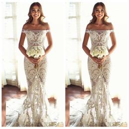 Wholesale Exquisite Wedding Dress Off Shoulder - Bateau Short Sleeves Slim Lace Appliques Bridal Mermaid Wedding Dress Exquisite Lace Appliques See Through Off Shoulder 2018 Vestidos