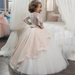 Wholesale Long Vest For Girls - Vintage Long Sleeves Blush White Flower Girls Dresses for Weddings Princess A Line Jewel Neck Bow Sash Long First Communion Pageant Gowns