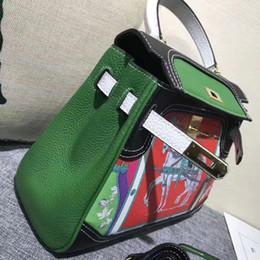 2019 sacs couleur 3A Qualité Iconic Kellly 28cm Dessin Coloré En Cuir Garniture Tote Sacs sacs couleur pas cher