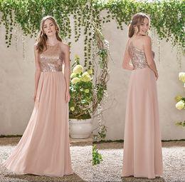 Rosa gasa rosa online-Vestidos de dama de honor con lentejuelas dorado 2019 Lentejuelas Cabestro de gasa largo Una línea de tirantes Ruffles Blush rosa dama de honor Vestidos de invitados de boda