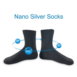 Wholesale- 2017  New 5 Pairs Nano Silver Cotton Socks Fashion Casual Anti-Bacterial Deodorant Summer Black White Blue Men's Socks D236 от
