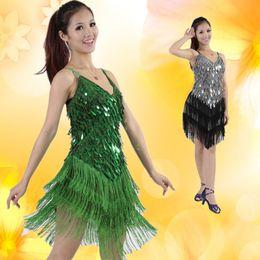 abiti da frangia samba Sconti Stage Performance Paillettes Fringe Tassel Vestito da ballo latino per donne Competizione Sala da ballo Salsa Samba Tango Costume da ballo L037