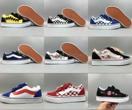 Wholesale kids hunting boots - 18-19 vans Classic Kids Shoes Old Skool Casual Boys Girls children Canvas Pink Rose Peanuts Black White Red Skateboard Sports Sneakers 22-35