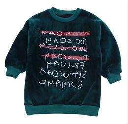 Deutschland 2018 Winter Kinder Kleidung Mädchen Pullover Langarm Buchstaben verdicken Fleece Mädchen lose Pullover Pullover für Mädchen Kinder Top Versorgung