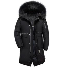Abrigos de piel de invierno coreano online-Duck Down Coat Mens Chaqueta de invierno Larga y delgada Chaqueta coreana Snow Down Parka Cuello de piel real Ropa masculina 2018 Tallas grandes S-5XL
