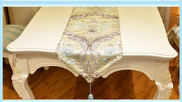 Wholesale Polyester Rectangle Tablecloths - New arrival Luxury floral jacquard pendant European rectangle polyester tablecloth table runner 5 size 3colors free ship