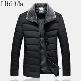 Wholesale Menswear Jacket - Wholesale-Men Large Size Cotton Down Parka Coats Fur Turn-down Loose Jackets Casual Clothes Male 7XL 8XL Winter Black Green Menswear F095