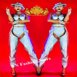 Argentina K61 Mujer trajes de plata traje de baile traje de dj traje de la pasarela show show usa bikini vestido de fiesta vestido sujetador barra de sombrero cheap dance outfits for women Suministro