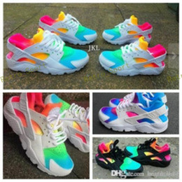 canvas shoes customs Coupons - 2018 Hot Huarache Running Shoes Huaraches Rainbow Ultra Breathe Shoes MenWomen custom designer Huraches Multicolor Sneakers Air Size 36-45
