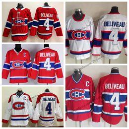 Jeans de costura blanca online-Nueva AD Jean Beliveau Montreal Canadiens Hockey Jerseys 1946 Vintage White Mens # 4 Jean Beliveau Stitched Hockey Shirts C Patch