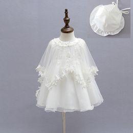 Wholesale Newborn Baby Girl White Dress - 2015 Newborn Baby Christening Gown Infant Girl's White Princess Lace Baptism Dress Toddler Baby Girl Chiffon Dresses 3pcs set