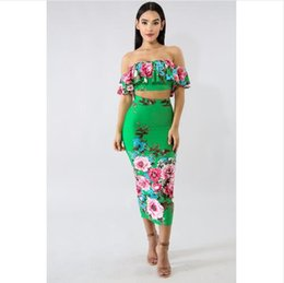 Wholesale floral bodycon midi dress - Summer Style Slash Neck Print Dress Women Two Piece Midi Dress Elegant New Bodycon Ruffles Sexy Dress Vestidos A8226