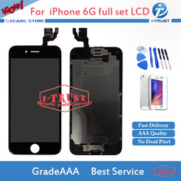 Wholesale Iphone Home Buttons - Touch Screen Digitizer For iphone 6G LCD or Display with Home Button + Front Camera High Quality Repair Replacement With Free DHL Shipping