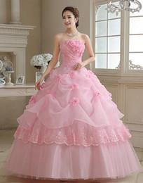 Casquinha rosa para vestido de noiva on-line-Gracioso de cristal applique rosa vestidos de noiva lace-up de volta organza do assoalho-comprimento 3 cores vestido de baile vestidos de casamento com anágua