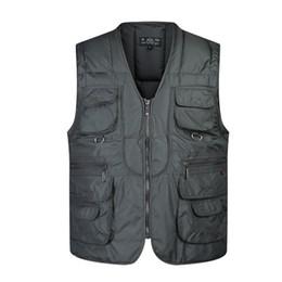 Wholesale Mens Multi Pocket Vest - free shipping 2017 New high quality winter thickening Multi-pocket mens Vest Men's Waistcoat Vest Photography Coats & Jackets