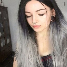Wholesale Wig Supplies Free Shipping - Factory supply long black to silver grey silk straight synthetic lace front wigs for women heat resistant synthetic wigs free shipping