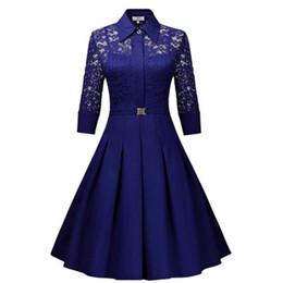 Dantel patchwork elbise Bahar Sonbahar Rusya Eğilim Kadınlar lady mavi siyah yaka boyun Pilili yüksek bel kemeri dekorasyon Balo nereden