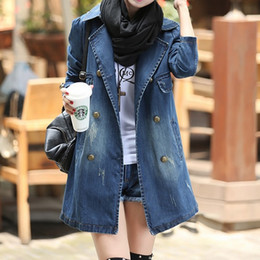 Wholesale Double Breasted Skirt Coat - New Arrival Womens Denim Jacket Coats 2018 Spring Turn-Down Collar Long Sleeve Chaquetas Mujer Vintage Loose Jaqueta Jeans Feminina