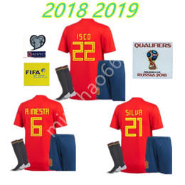 Wholesale Spain National Team - adult kit 2018 Spain world cup soccer jersey shorts socks Home PIQUE MORATA 18 national team Away ASENSIO ISCO SILVA camiseta de futbol
