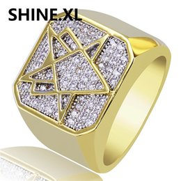 Wholesale brass jewerly - New Custom Hip Hop Brass Gold Color Plated Rings Iced Out Cz Strone Geometric Shape Square Men 's Ring Jewerly