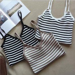 Wholesale Sexy Ladies Stripping - Hot Sale Women V-neck Vest Camisole Casual Tops Sling Tank Tops Knit Vest Stretch Ladies Slim Sexy With Strips Camis