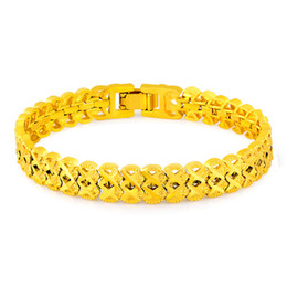 Wholesale 24k Gold Bracelets For Women - New Vintage Classic 24K Gold Stamped Pattern Chain Bracelets For Women Men Anniversary Engagement Jewelry Gifts CHH111