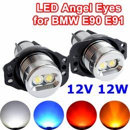 Flytop 2 piezas (1 juego) 2 * 6W 12W LED Angel Eyes para Bridgelux Chip blanco / azul para E90 E91 ENVÍO GRATIS desde fabricantes