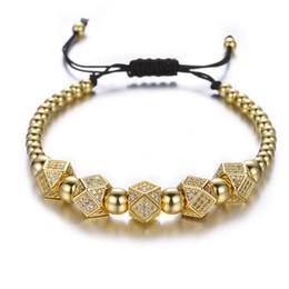 Deutschland Geometrische Faced Crystal Nieten Charme Armbänder Für Frauen Männer Kupfer Perlen Armbänder Männlichen Accessoires Pulseira Masculina Versorgung