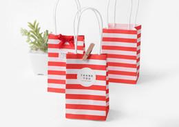 Argentina 7.5 * 12 * 5 cm Mini bolsa de embalaje de regalo de papel de la mano de la raya para artículos promocionales sin cinta y accesorios de etiqueta Suministro