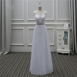 2019 simple high neckline wedding dress Abito da sposa scozzese in chiffon con applicazioni in pizzo. Abiti da sposa