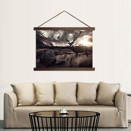 Wholesale Painting Interior Room - HD Prints Beautiful Sky And Deer Posters For Interior Decor Elk Paintings Living Room With Solid Wood Hanging Scroll Pictures