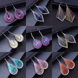 Wholesale Wholesale Silk Thread - National wind jewelry hand-woven fine silk thread earrings European fashion hair-deep wholesale leaf earrings wedding earrings