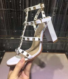 Wholesale Chunky Heel Slingback Shoes - new luxury designer sandal sandalias brand Leather Women Stud Sandals Slingback Pumps Sexy Fashion open-toe rivets Roman High Heels