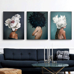 sexy paintings Promo Codes - Modern minimalist sexy girl feather characters abstract posters and prints wall art canvas painting living room decoration