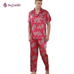 Wholesale Plus Size Silk Pajamas - Yuzihua Singlet Men Sexy Pajamas For Men Couples Set Sleeve Silk Pajama Stripes High-Grade Pajama Sets Plus Size